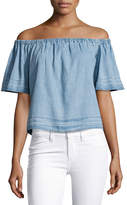 AG Adriano Goldschmied Sylvia Off-the-Shoulder Chambray Top, Blue