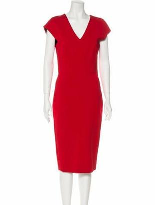 Victoria Beckham Short Sleeve Midi Dress Red