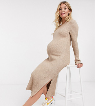 ASOS DESIGN Maternity crew neck ribbed midi dress