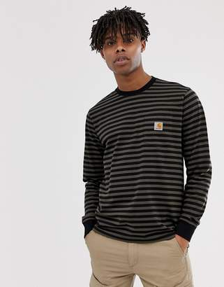 Carhartt Wip WIP long sleeve Haldon pocket stripe t-shirt in black/khaki