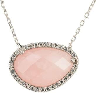 Sofia Rose Quartz Gemstone Necklace Silver