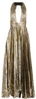 Maria Lucia Hohan Adina deep V-neck pleated lamé gown