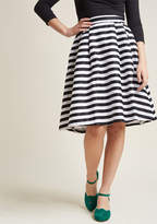 Dusk and Stunner Midi Skirt in Black in 3X - A-line Skirt Long by ModCloth