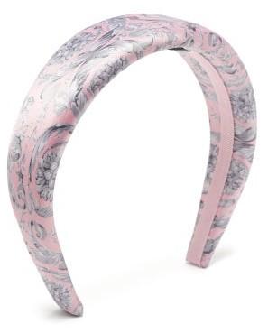 Versace Baroque-print Satin Headband - Pink