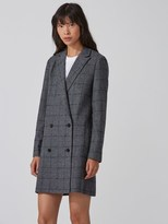 Frank and Oak Double-Breasted Plaid Blazer in Grey