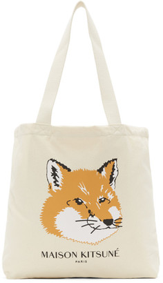 MAISON KITSUNÉ Off-White Fox Head Tote