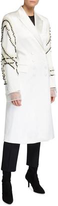 Dries Van Noten Rhoda Pearl Embroidered-Sleeve Double-Breasted Coat