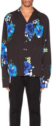 Rhude Hawaiian Long Sleeve Shirt in Black & Blue | FWRD