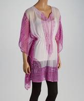 Purple & White Color Block Cape-Sleeve Tunic