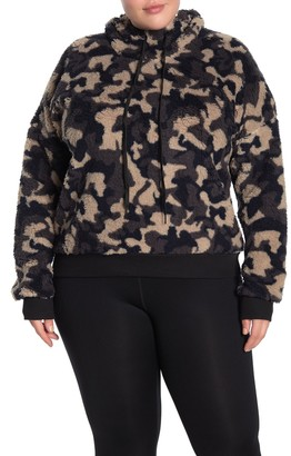 Z By Zella Printed Faux Shearling Hooded Pullover (Plus Size)