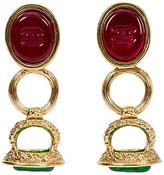 One Kings Lane Vintage Chanel Red & Green Seal Drop Earrings - Vintage Lux