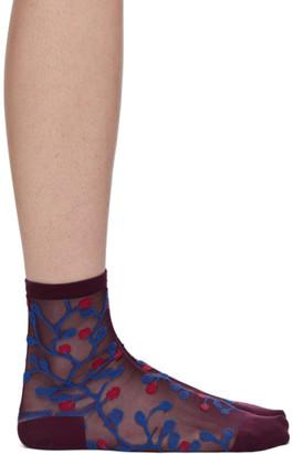 Y's Ys Purple and Orange Jacquard Mesh Flower Socks