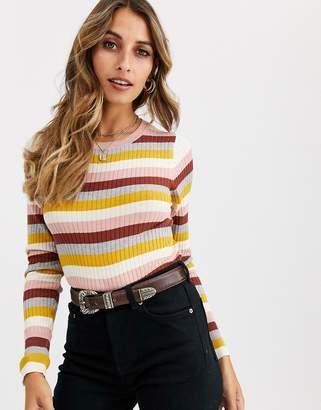 Vero Moda mixed stripe knitted jumper-Brown