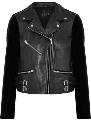 Veda Puzzle Velvet-paneled Leather Biker Jacket