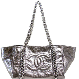 Chanel Silver Metallic Leather Tote Bag