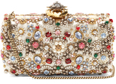 Alexander McQueen Heart-clasp satin embellished box clutch