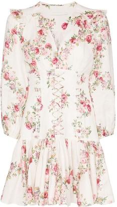 Zimmermann Honour floral print corset mini dress