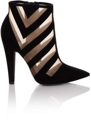 Paper Dolls Linzi Footwear Black Mesh Insert Heel Boot