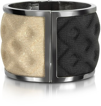 Avril 8790 Double Ruthenium Plated Brass and Black/Gold Viscose Bangle