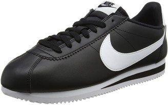 Nike Wmns Classic Cortez Leather Womens Trainers Black (Black/white-white) 6 UK