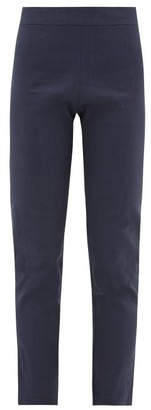 story. White Capri Cropped Linen-blend Trousers - Womens - Navy