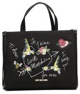Love Moschino Embroidered Canvas Tote Bag