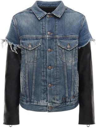 R 13 Sky Denim Jacket W/ Leather Sleeves