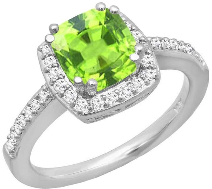 DazzlingRock Collection 14K White Gold 6 MM Cushion Tanzanite & Round Diamond Bridal Halo Style Engagement Ring (Size 7.5)