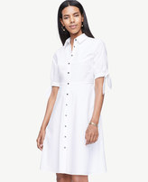 Ann Taylor Petite Poplin Tie Sleeve Shirt Dress