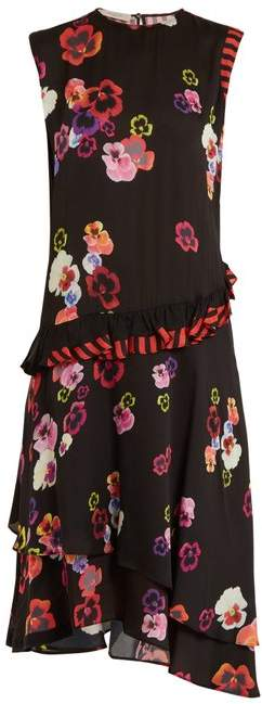 Preen Line Cassia Pansy Print And Striped Crepe Dress - Womens - Black Multi