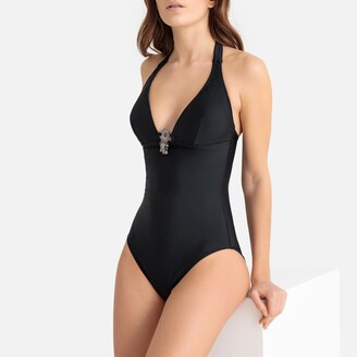 La Redoute Collections Plain Halterneck Swimsuit with Charm