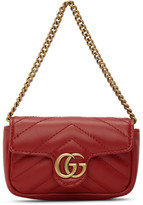 Gucci Red GG Marmont Coin Case Bag
