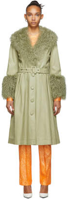 Saks Potts Green Foxy Shearling Coat