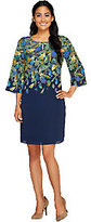 Isaac Mizrahi Live! Feather Printed 3/4 Sleeve Dress