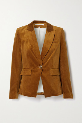 Veronica Beard Lia Dickey Suede-trimmed Cotton-blend Corduroy Blazer - Camel