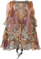 Roberto Cavalli printed blouse - women - Silk/Suede/Polyester/glass - 40