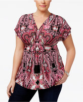 INC International Concepts Plus Size Printed Pleated Top, Only at Macy's