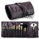 Travelmall Makeup brush rolling case pouch holder Cosmetic bag organizer Travel portable 18 pockets Cosmetics Brushes leather case BROWN Color