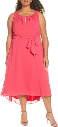 Tahari Sleeveless Chiffon Midi Dress