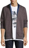Robert Graham Odyssey Houndstooth Full-Zip Sweater, Gray