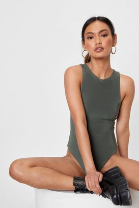 Nasty Gal Womens What Do You Slink Petite Racer Bodysuit - Olive