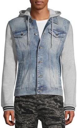 No Boundaries Men's and Big Men's Denim Jacket with Fleece Hood, up to Size 3XL