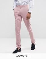 Asos Tall Wedding Skinny Suit Pants In Dusky Pink