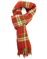 A.P.C. Burgundy Large Checked Wool Fringed Scarf