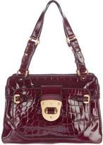 Alexander McQueen Embossed Patent Leather Shoulder Bag