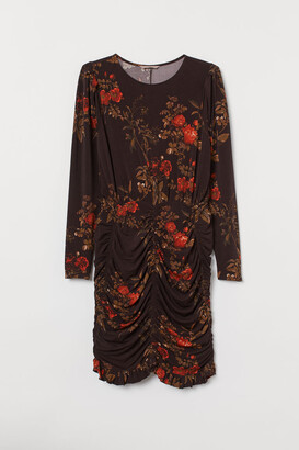 H&M H&M+ Puff-sleeved Dress - Brown