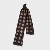 Paul Smith Men's Black Signature Stripe Polka Dot Wool-Silk Scarf
