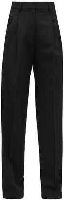 Stella McCartney High-rise Pleated Wool-blend Tapered Trousers - Black