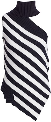 Monse One-Shoulder Striped Wool Turtleneck Top