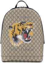 Gucci GG Supreme tiger embroidered backpack